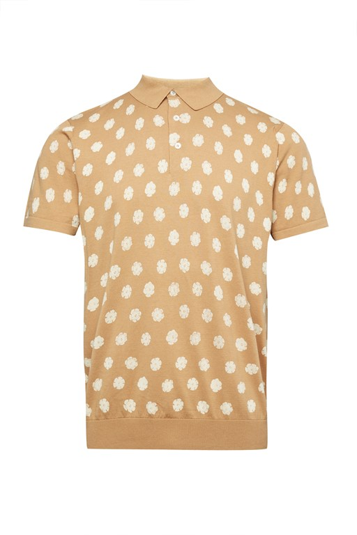 superfine hibiscus dot polo shirt