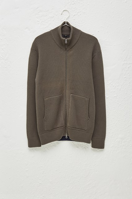 Fishermans Rib Zip Through Jumper