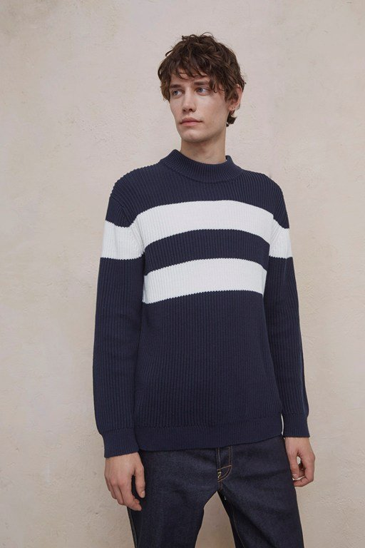 bold stripe turtle neck jumper