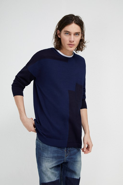indigo patchwork knit jumper