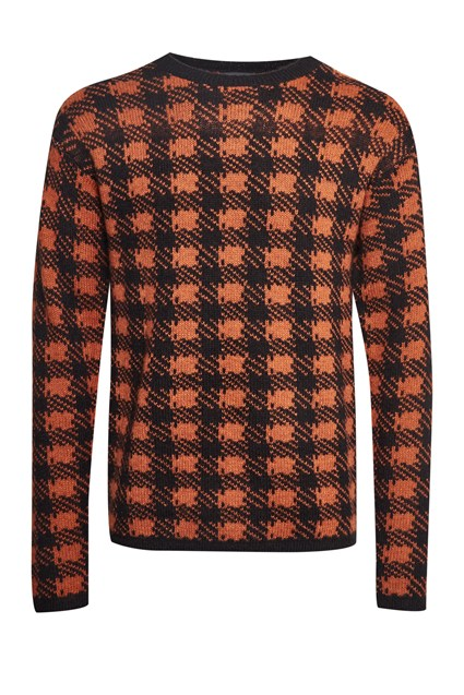 Mohair Plaid Crew Neck Jumper