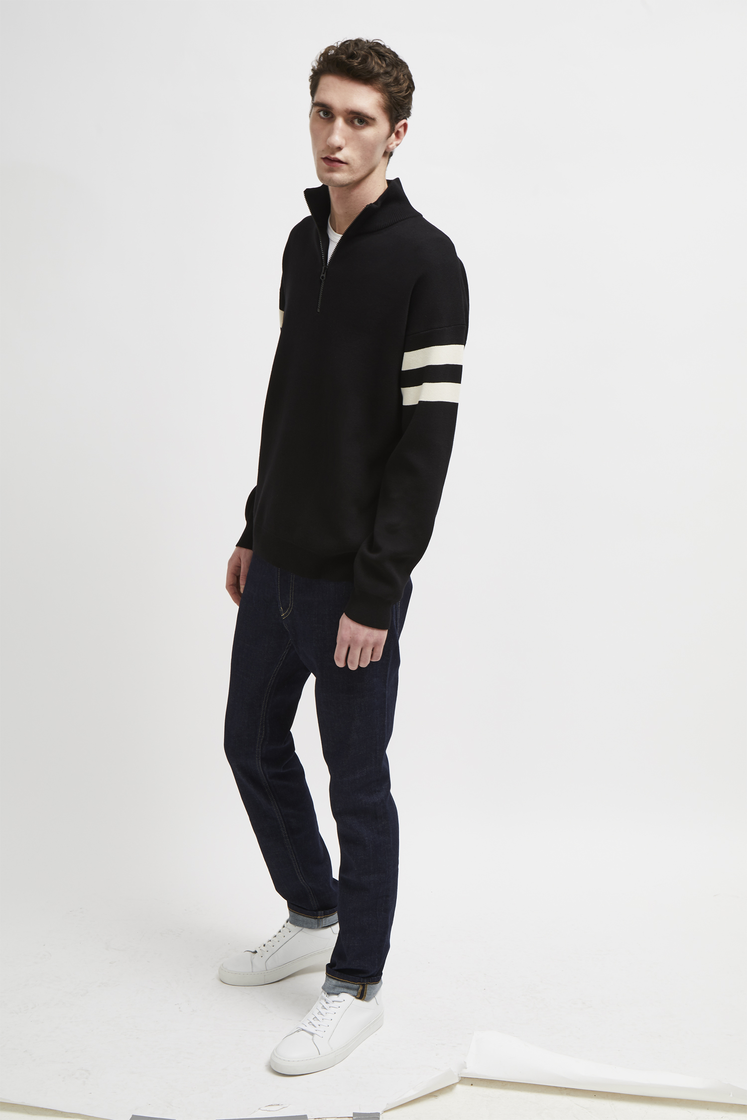 French Connection Mens Knitted Cotton Zip Through Jumper