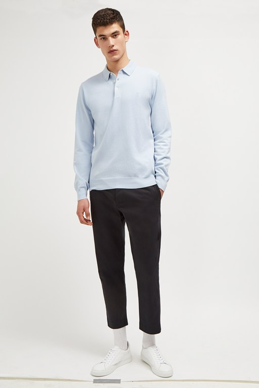 stretch cotton polo jumper