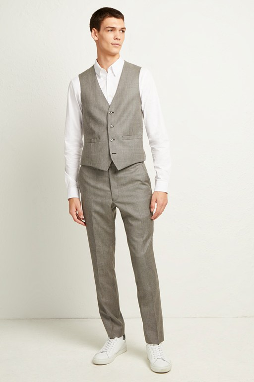 light grey dogtooth check waistcoat