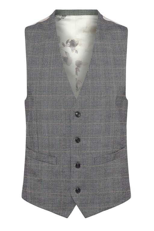 Complete the Look Grey Check Suit Waistcoat