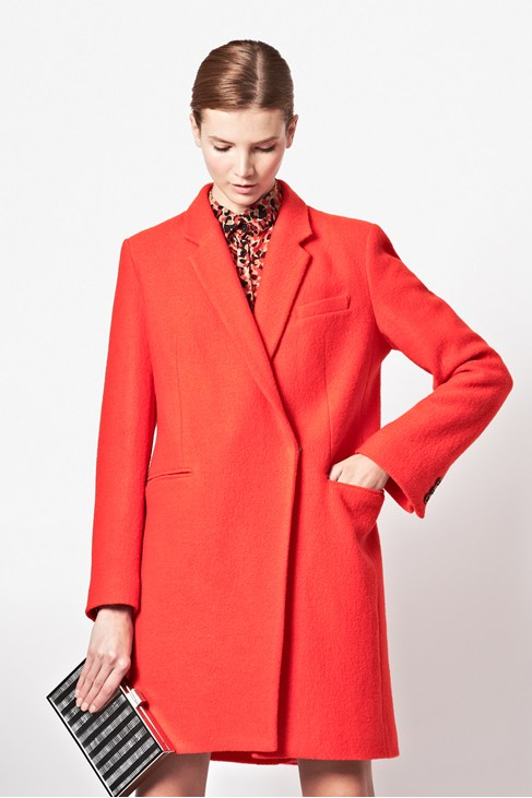 Red Oversized Belle Boucle Wool Coat