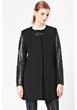 Leather Sleeve Wool Coat