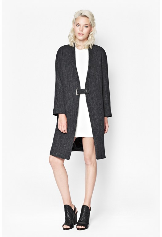 Black Smart Buckle Up Coat - French Connection