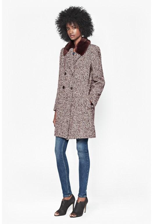 Moscow Tweed Faux Fur Collar Coat