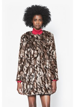 Tabby Faux Fur Collarless Coat
