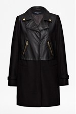 Looks Great With Moto Leather Wool Coat