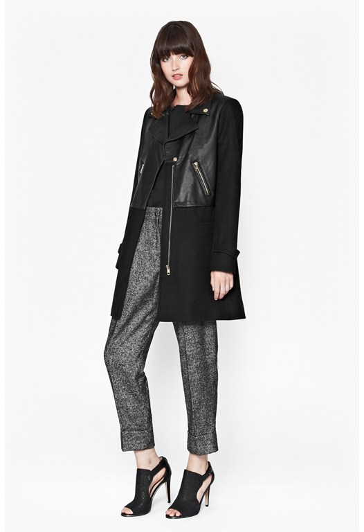 Moto Leather Wool Coat