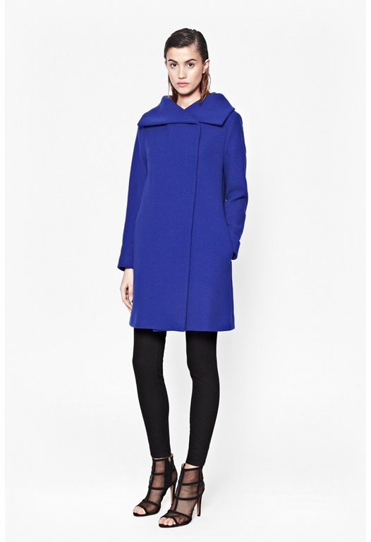 Imperial Fold Neck Wool Coat