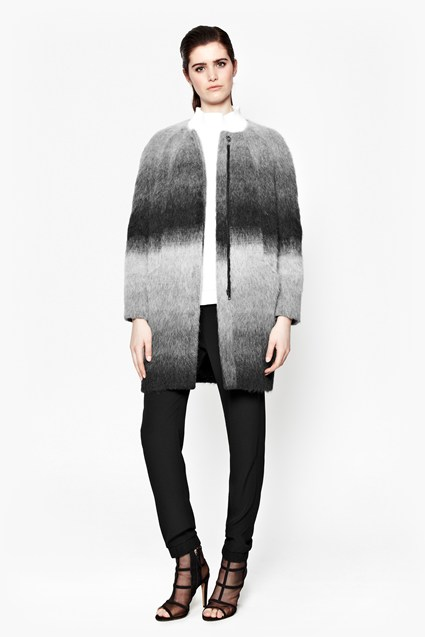 Chromatic Collarless Ombre Coat