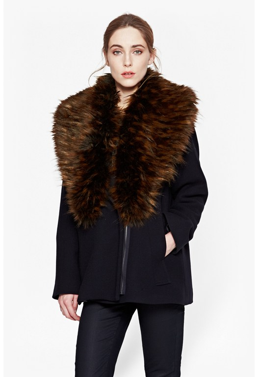 Mia Oversized Wool & Faux Fur Jacket