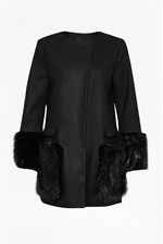 Looks Great With Madison Wool Faux Fur Coat