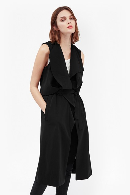 Freya Sleeveless Drape Coat