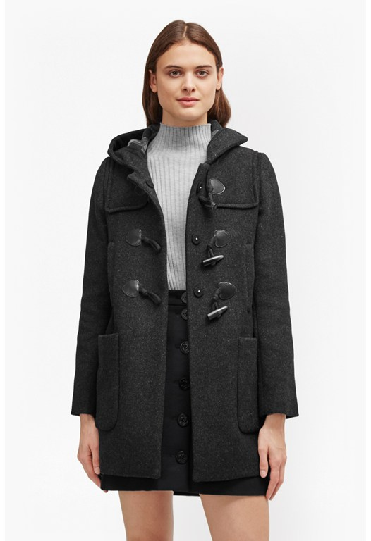 Teddy Check Hooded Duffle Coat