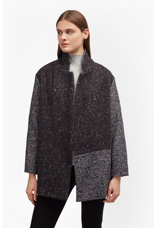 Terence Tweed Patch Cocoon Coat