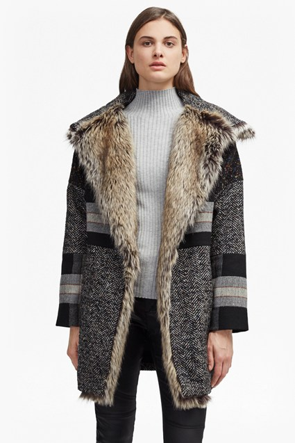 Faux Fur Tweed Mix Coat