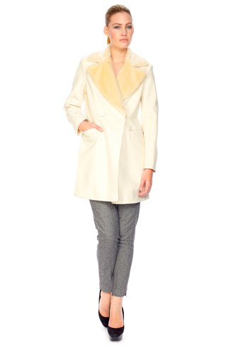 Wool Blend Double Breasted Coat White