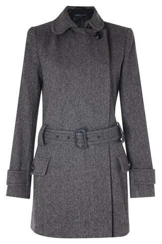 Tweed Belted Coat Black
