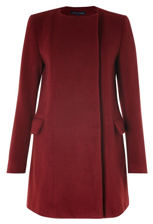 French Connection Wool Collarless Coat Red