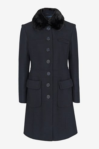 Glorious Wool Faux Fur Collar Coat