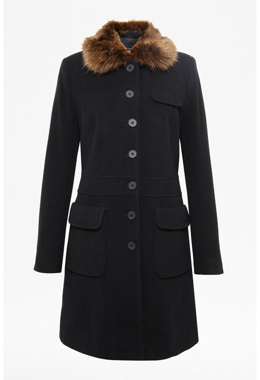 Glorious Wool Faux Fur Coat