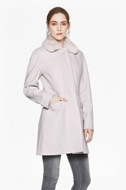 Platform Faux Fur Collar Coat