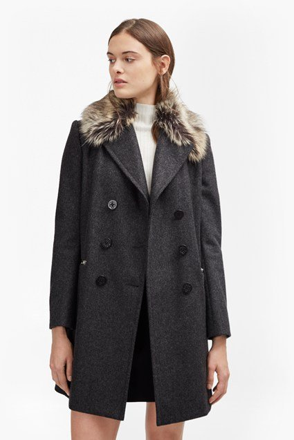 Platform Felt Faux Fur Collar Coat