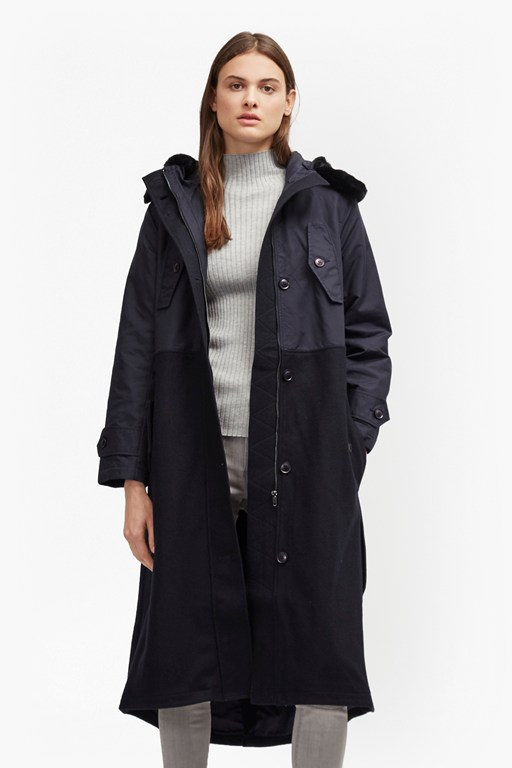 frost cotton long hooded coat