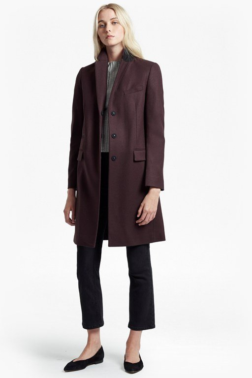 platform felt long sleeved smart fit coat