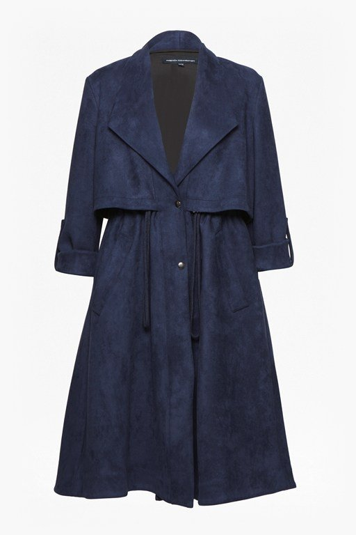 patty drape long sleeved flared trench coat