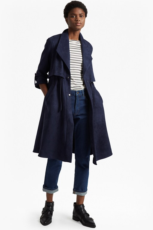 Complete the Look Patty Drape Long Sleeved Flared Trench Coat