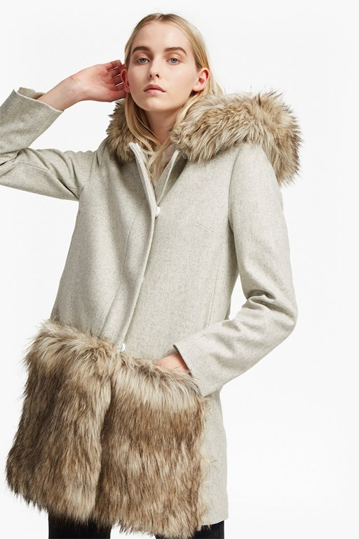 platform felt fur trim coat