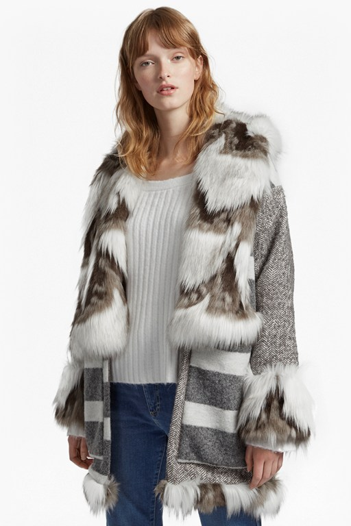 noemi coating long sleeve fur trim coat