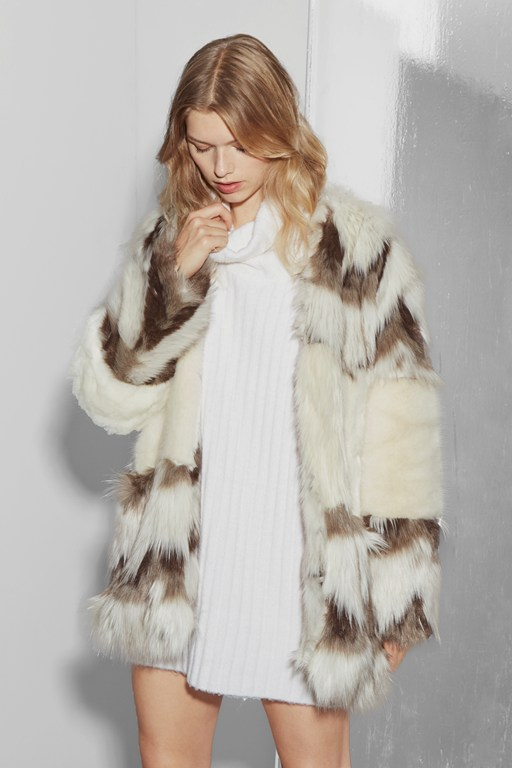 devonna mix long sleeve fur coat
