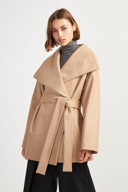 platform felt funnel neck coat