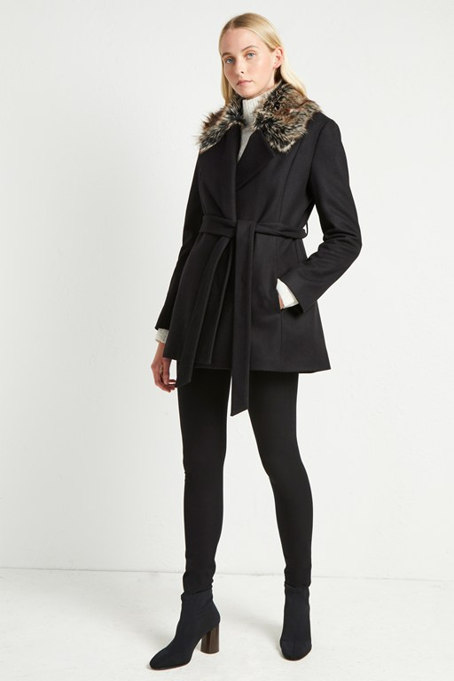 platform felt fur collar coat