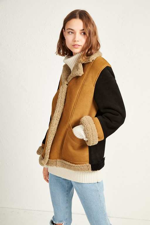 louie sheepskin patchwork jacket