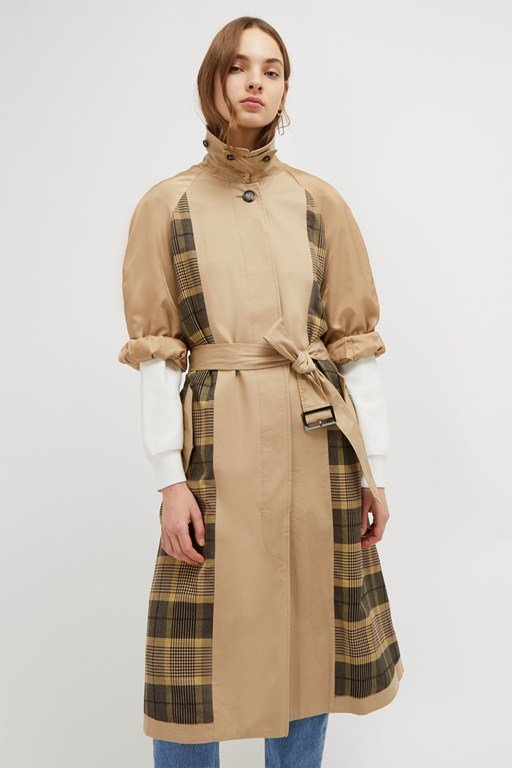 anais check belted trench
