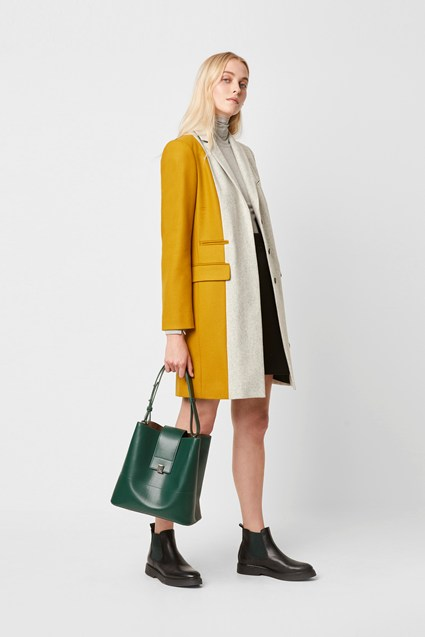 Carmelita Colour Block Wool Coat