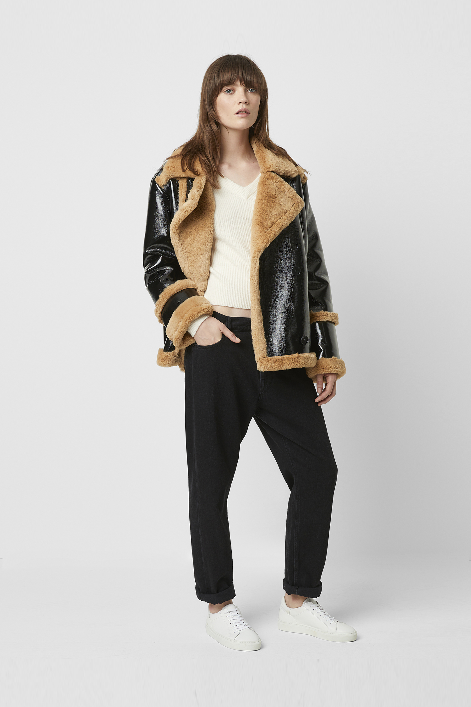 Faux Shearling Double Breasted Coat | Forever 21 | Faux
