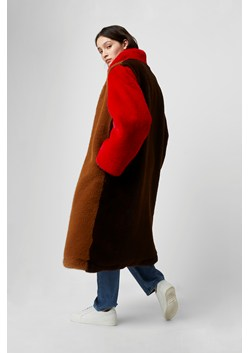 Claudie Faux Fur Oversized Colour Block Coat