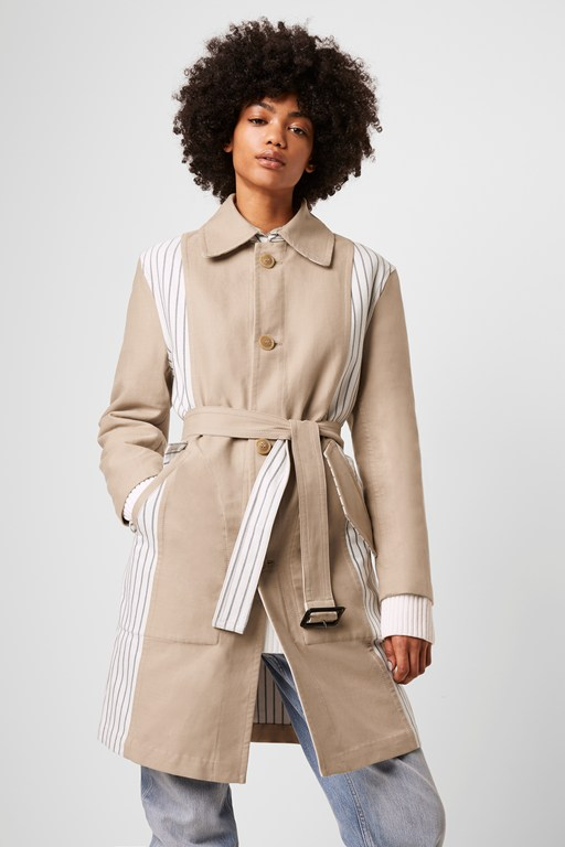 candis reversible stripe belted coat