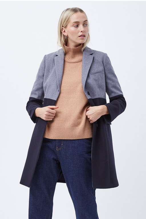 erita colourblock felt coat