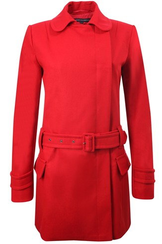 Dropwaist Belted Coat Red