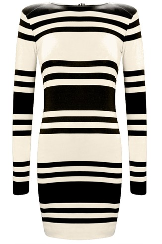 Cotton Stripe Long Sleeve Dress White, Blue