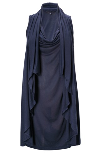 Jersey Cowl Neck Dress Blue